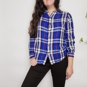 Topshop Button Down Plaid Flannel Shirt Size 10
